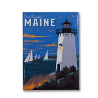 Visit Beautiful Maine Metal Magnet