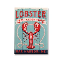 ME Lobster Bar Harbor Metal Magnet
