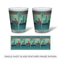 Austin, TX Congress Ave. Bridge Shot Glass
