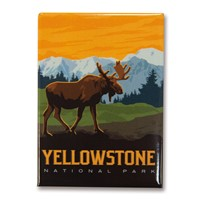 Yellowstone Frontier Moose Metal Magnet