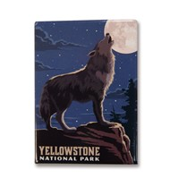 Yellowstone Howling Wolf Metal Magnet