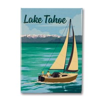 Lake Tahoe Sailboat Metal Magnet