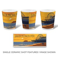 Santa Monica Pier Sunset Ceramic Shot