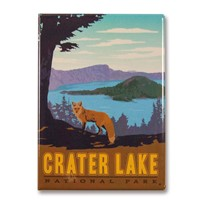 Crater Lake Fox Yellow Magnet