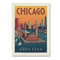 Chicago Navy Pier Aerial View Vert Sticker