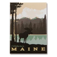 ME Moose Lake Mountains Magnet