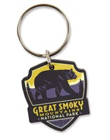 Great Smoky Bear Emblem Wooden Key Ring