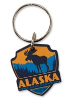 AK Moose Emblem Wooden Key Ring