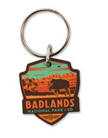 Badlands NP Emblem Wooden Key Ring