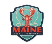 ME Lobster Wooden Emblem Magnet