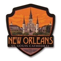 New Orleans St Louis Cathedral Wooden Emblem Magnet