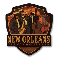 New Orleans French Quarter Wooden Emblem Magnet