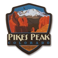 Pikes Peak, CO Wooden Emblem Magnet
