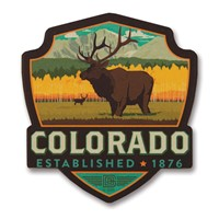 Elk CO Wooden Emblem Magnet