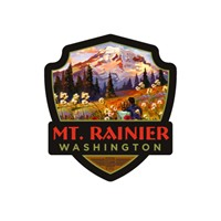 Mt. Rainier Moment in the Meadow Emblem Sticker