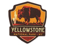 Yellowstone NP Emblem Wooden Magnet