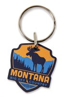 MT Moose Emblem Wooden Key Ring