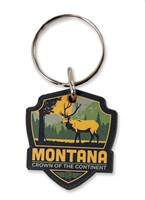 MT Elk Emblem Wooden Key Ring