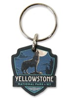 Yellowstone Wolf Emblem Wooden Key Ring