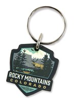 Rocky Mountains CO Elk Wooden Key Ring
