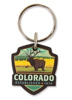 Elk CO Wooden Key Ring