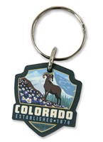 Columbine CO Wooden Key Ring