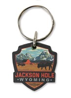 Jackson Hole, WY Emblem Wooden Key Ring