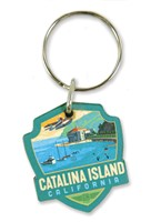 Catalina Island Emblem Wooden Key Ring
