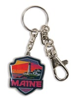 ME Portland Light Emblem Pewter Key Ring