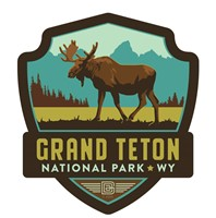 Grand Teton Moose Emblem Wooden Magnet