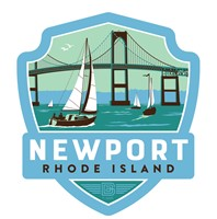 RI Newport Bridge Emblem Wooden Magnet