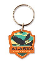 Alaska Eagle Emblem Wooden Key Ring