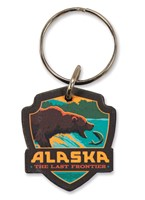 Alaska Fishing Bear Emblem Wooden Key Ring