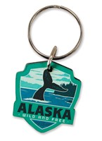 Alaska Whale Emblem Wooden Key Ring