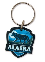 Alaska Wolf Emblem Wooden Key Ring