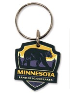 MN Bear Emblem Wooden Key Ring