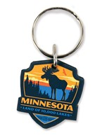 MN Moose Emblem Wooden Key Ring