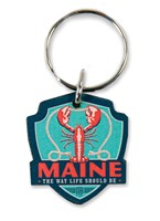 ME Lobster Emblem Wooden Key Ring