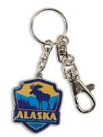 Alaska Moose Emblem Pewter Key Ring