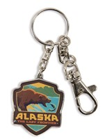 Alaska Fishing Bear Emblem Pewter Key Ring