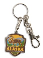 Alaska Caribou Emblem Pewter Key Ring