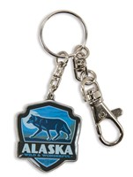 Alaska Wolf Emblem Pewter Key Ring