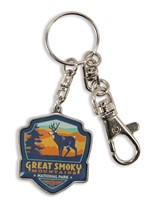 Great Smoky Deer Emblem Pewter Key Ring
