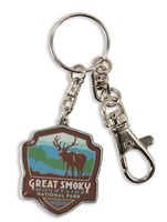 Great Smoky Elk Emblem Pewter Key Ring