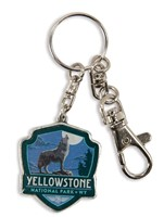 Yellowstone Wolf Emblem Pewter Key Ring