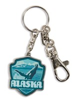 AK Whale Breaching Emblem Pewter Key Ring