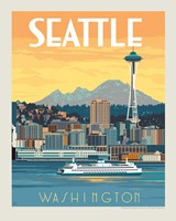 "WA, Seattle Ferry 8"" x10"" Print"