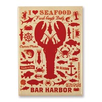 Lobster Pattern Print Bar Harbor Magnet