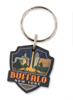 Buffalo, NY Emblem Wooden Key Ring
