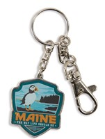 ME Puffin Emblem Pewter Key Ring